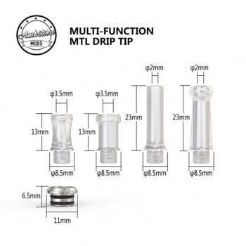Drip Tip Ambition Mods Kit 4 pz Trasparente